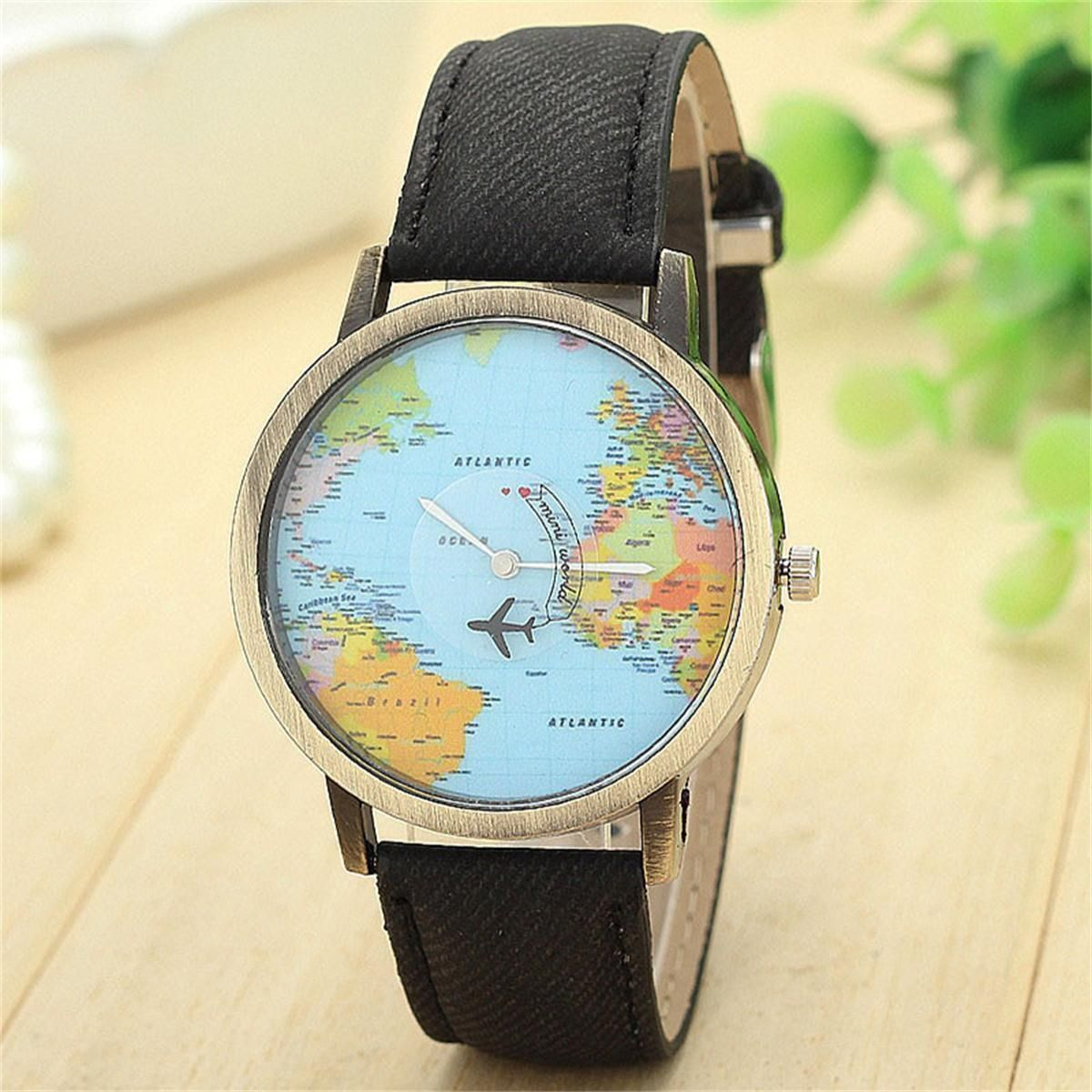 91d5a386340 Dámské náramkové hodinky s mapou světa